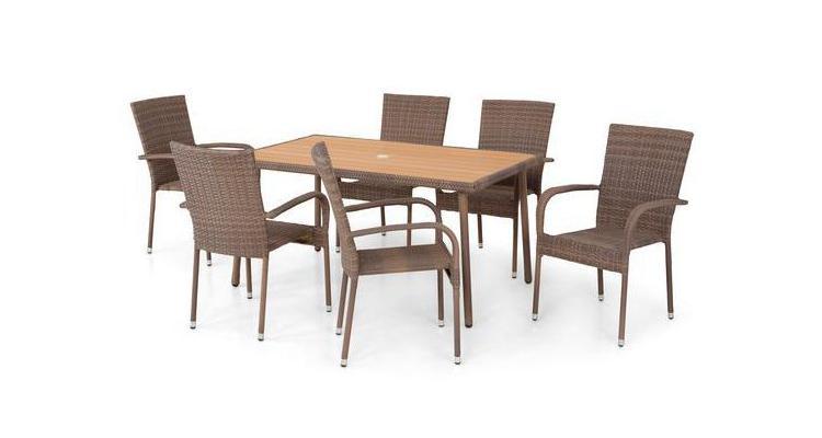 Set 6 scaune si masa AMAYA  maro/natur