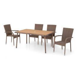 Set 4 scaune si masa AMAYA  maro/natur