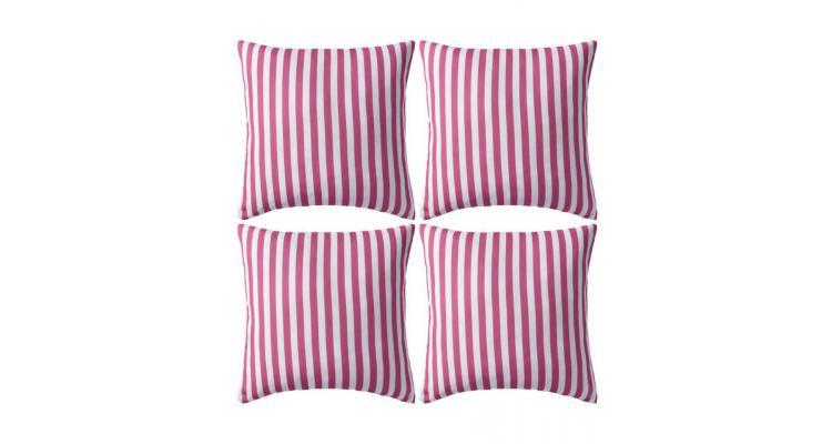 Perne de exterior, 4 buc., roz, 45 x 45 cm, imprimeu dungi poza kivi.ro