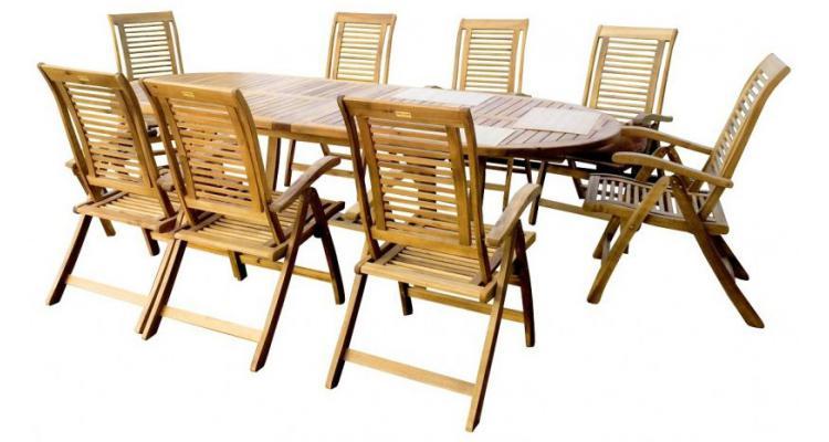 Se mobilier gradina din lemn de acacia, masa cu 8 scaune, Royal imagine 2021 kivi.ro