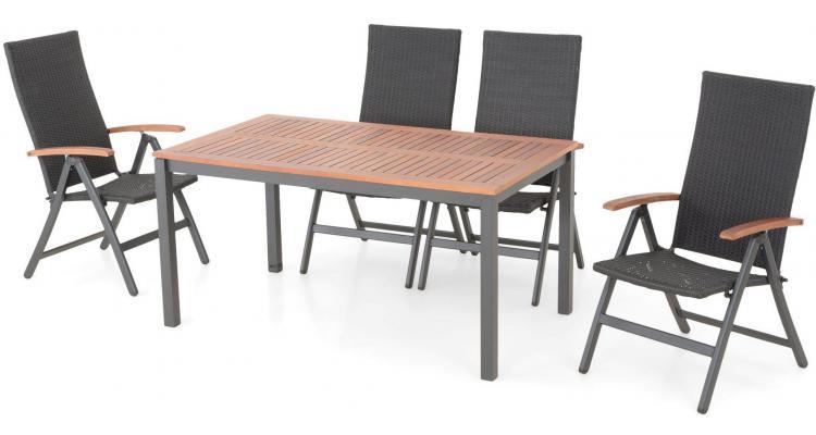 Set masa cu 4 scaune reglabile de exterior din aluminiu si lemn PAOLO
