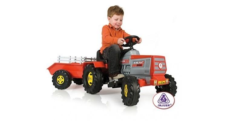 Tractor electric copii cu remorca 6 v Injusa