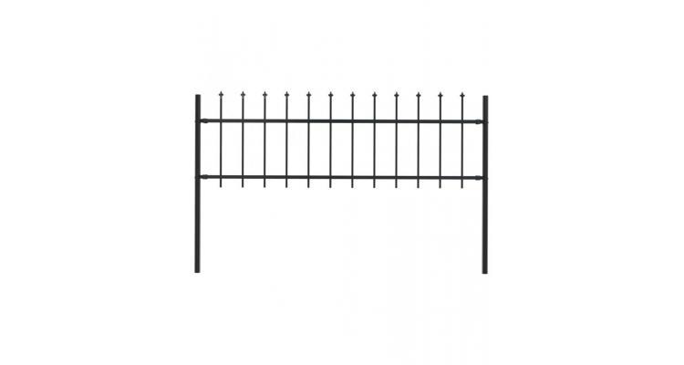 Gard de gradina cu varf sulita, negru, 1,7 x 0,6 m, otel poza kivi.ro