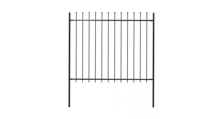 Gard de gradina cu varf sulita, negru, 1,7 x 1,5 m, otel poza kivi.ro