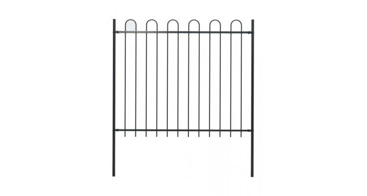 Gard de gradina cu varf curbat, negru, 1,7 x 1,5 m, otel imagine 2021 kivi.ro