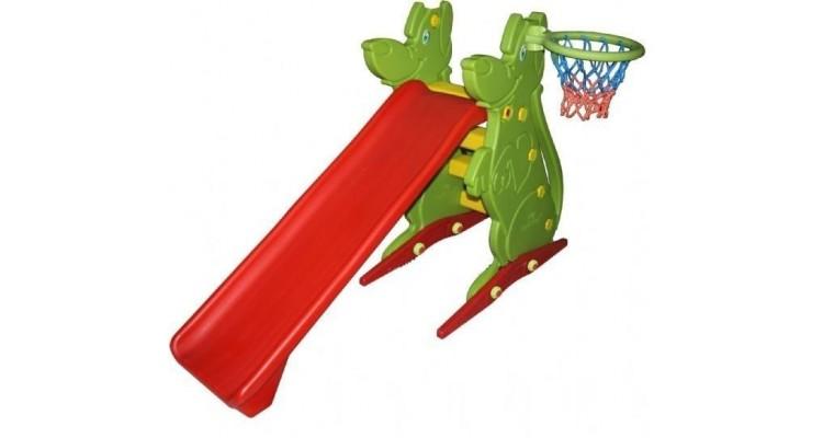 Spatiu de joaca cu tobogan si cos de basket imagine 2021 kivi.ro