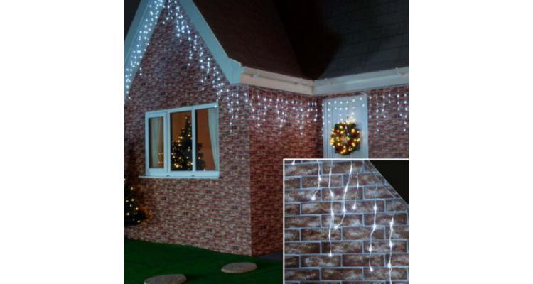 Instalatie luminoasa de Craciun, tip franjuri / turturi, 20 metri, 400 LED-uri, ALB RECE poza kivi.ro