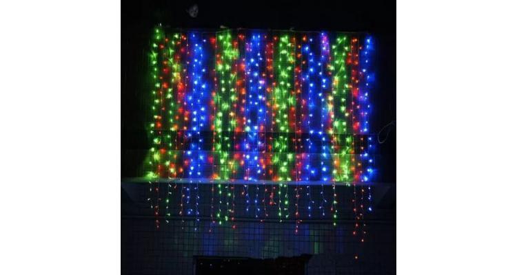Instalatie de Craciun, tip perdea digitala, 3x2 m, 400 leduri, multicolor poza kivi.ro