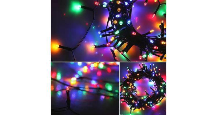 Instalatie de Craciun , tip liniara, 9m, 80 leduri hexagonale, multicolor/RGB poza kivi.ro
