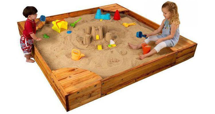 Spatiu pentru nisip cu bancute 125cm X 125cm poza kivi.ro