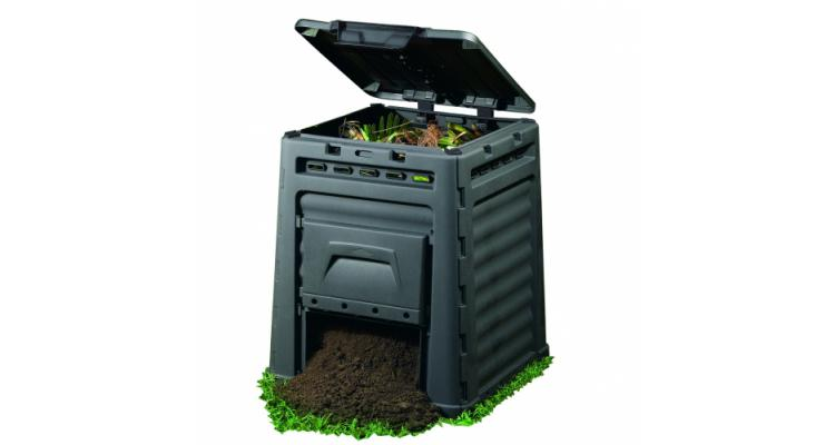 Compostor Eco gradina - 320L - Negru imagine 2021 kivi.ro