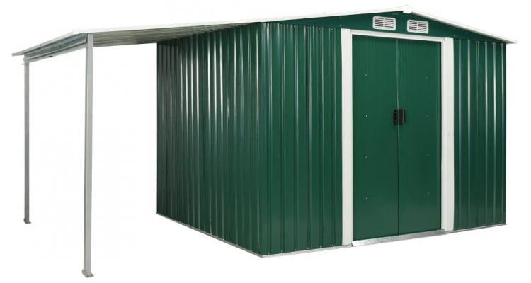 Sopron de gradina cu usi glisante, verde, 386x205x178 cm, otel imagine 2021 kivi.ro