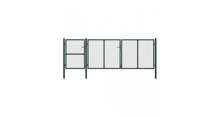 Poarta de gradina, verde, 400 x 125 cm, otel imagine 2021 kivi.ro