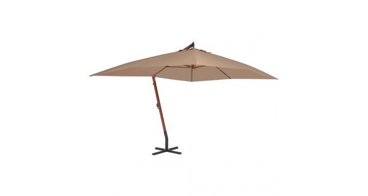 Umbrela suspendata cu stalp din lemn, gri taupe, 400 x 300 cm