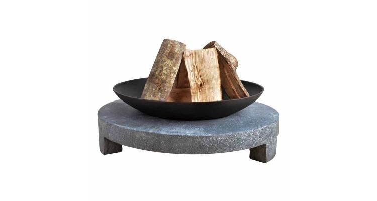Bol pentru foc pe baza rotunda de granit