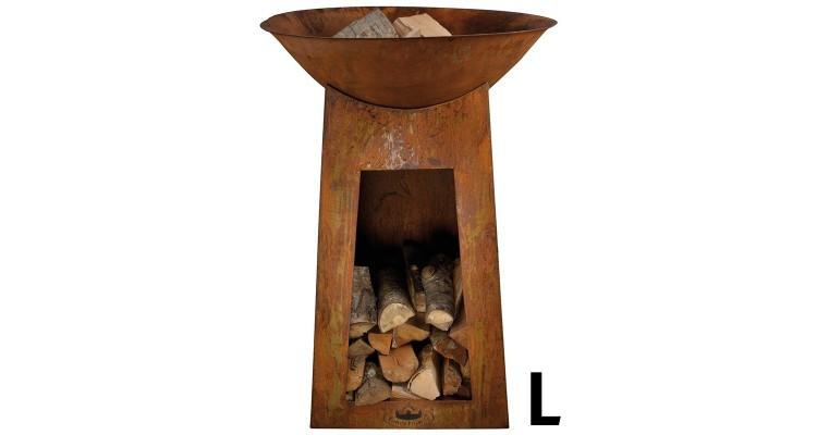 Bol pentru foc cu spatiu depozitare lemne poza kivi.ro