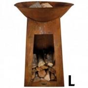 Bol pentru foc cu spatiu depozitare lemne