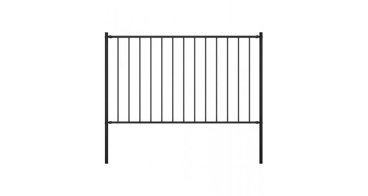 Panou de gard cu stalpi, negru, 1,7 x 0,75 m, otel imagine 2021 kivi.ro