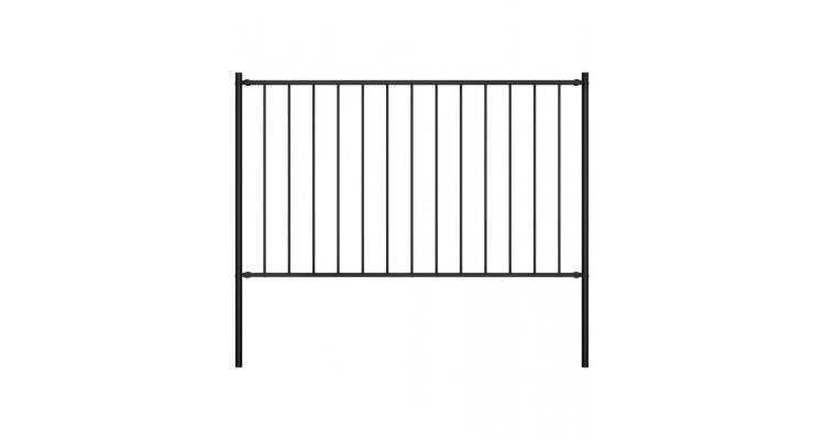 Panou de gard cu stalpi, negru, 1,7 x 1 m, otel imagine 2021 kivi.ro
