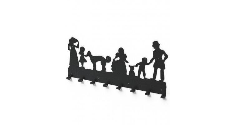 Cuier metalic FAMILIE - model 3019 Negru poza kivi.ro