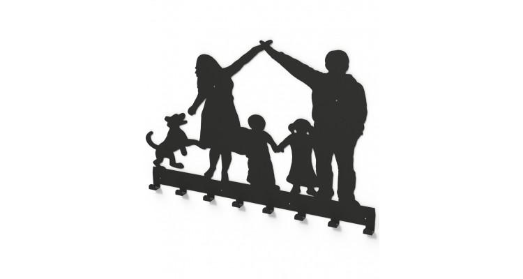 Cuier metalic FAMILIE OCROTITOARE -model 3018 Negru poza kivi.ro