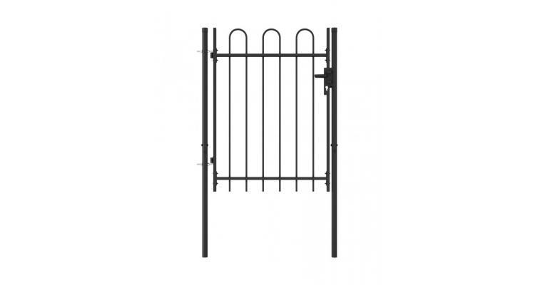 Poarta de gard cu o usa, varf arcuit, negru, 1 x 1,2 m, otel poza kivi.ro