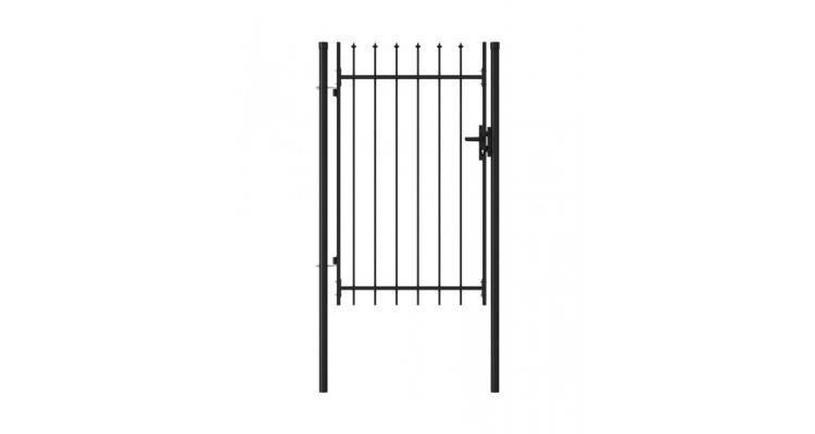 Poarta de gard cu o usa, varf ascutit, negru, 1 x 1,5 m, otel poza kivi.ro