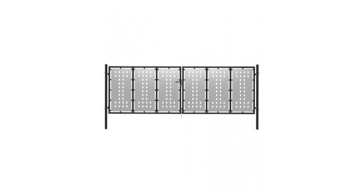 Poarta de gradina, argintiu, 400 x 125 cm, otel imagine 2021 kivi.ro