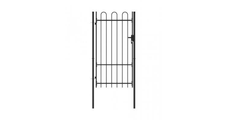 Poarta de gard, o usa, cu varf arcuit, negru, 1 x 1,75 m, otel poza kivi.ro