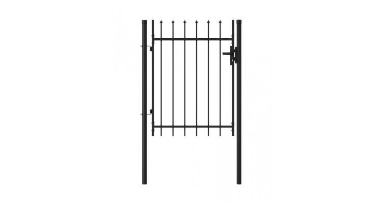 Poarta de gard, o usa, cu varf sulita, negru, 1 x 1,2 m, otel imagine 2021 kivi.ro