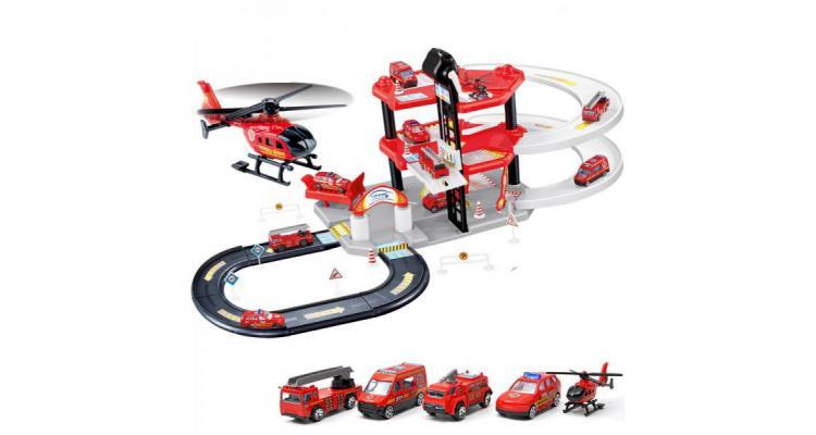 Garaj de masini multifunctional Alibibi cu patru masinute si un elicopter inclus poza kivi.ro