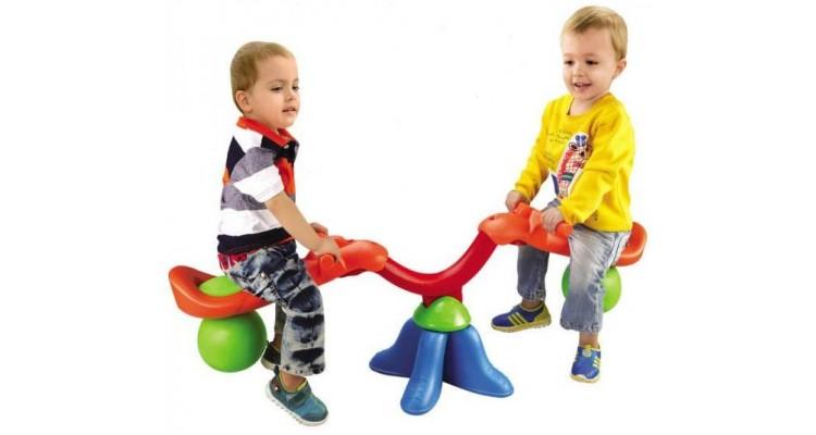 Balansoar de interior sau exterior din plastic cu doua locuri pentru copii poza kivi.ro