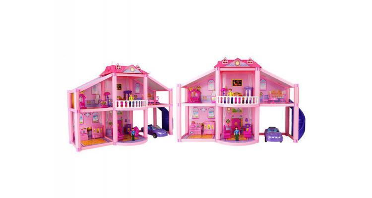 Casa pentru papusi Alibibi cu 2 papusi, 1 casa , mobilier si masina