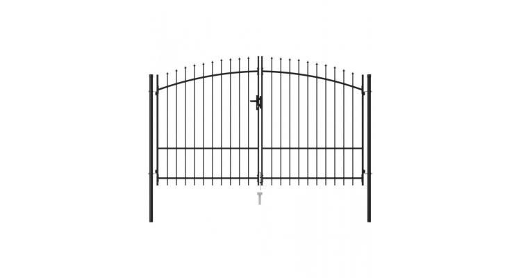 Poarta de gard cu usa dubla, varf ascutit, negru, 3x2 m, otel imagine 2021 kivi.ro