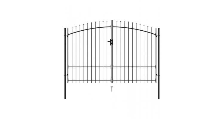 Poarta de gard cu usa dubla, varf ascutit, negru 3x1,75 m otel poza kivi.ro