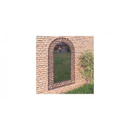 Oglinda de perete de gradina, negru, 60 x 110 cm, arcuita