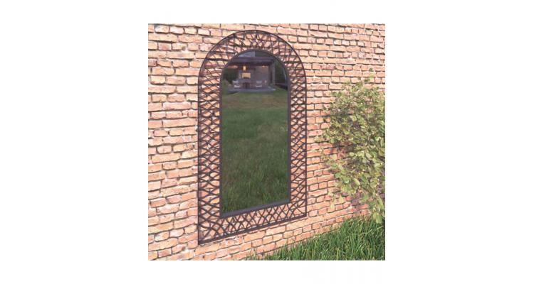 Oglinda de perete de gradina, negru, 60 x 110 cm, arcuita imagine 2021 kivi.ro
