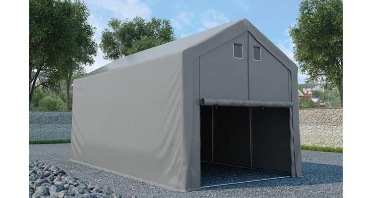 Cort de depozitare garaj, gri, 4 x 8 m, pvc