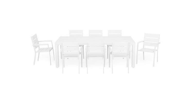 Set ESCALE 8 scaune si masa dreptunghiulara,alb