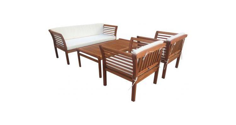 Set mobilier gradina, lemn eucalipt, Fiorentino, 4 piese, maro/alb poza kivi.ro