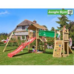 Complex de joaca  cu 2 turnuri Jungle Gym Cottage-Bridge-Swing