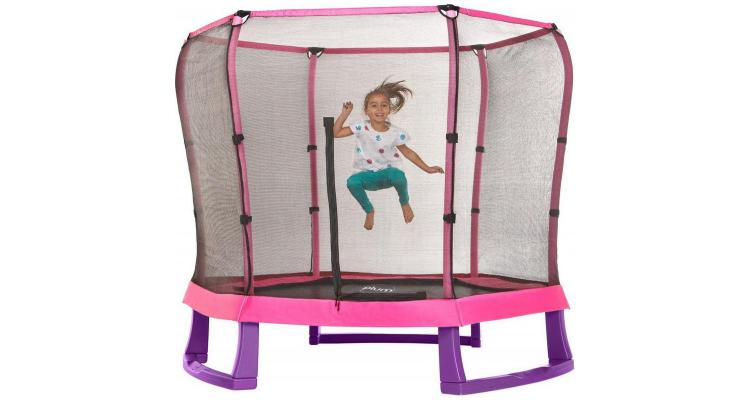 Set trambulina copii cu plasa de protectie Junior Pink Purple 7FT PLUM imagine 2021 kivi.ro