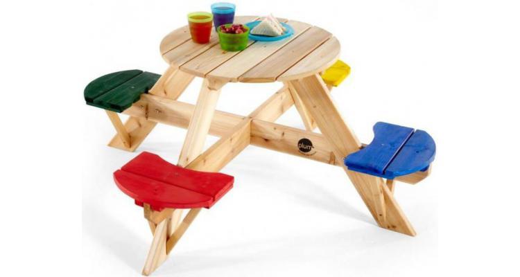 Masa de joaca din lemn cu scaune colorate pentru 4 copii PlumMasa de joaca din lemn cu scaune colorate pentru 4 copii Plum