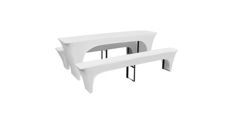 3 huse elastice pentru masă și bănci berărie 220 x 70 x 80 cm, alb poza kivi.ro