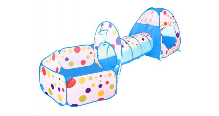 Set cort de joaca pentru copii 3 in 1 Alibibi cort, tarc si tunel albastru imagine 2021 kivi.ro