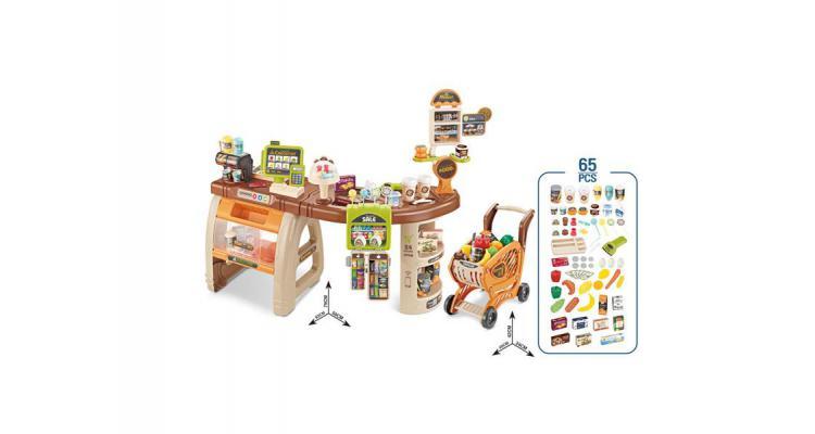 Set de joaca supermarket cu aparat de cafea AliBibi cu carucior, scanner , cantar si acesorii imagine 2021 kivi.ro