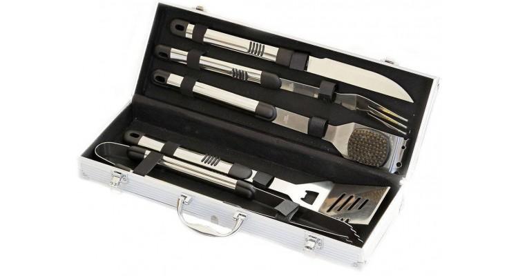 Set 5 ustensile din inox pentru gratar cutie din aluminiu Activa 16100 poza kivi.ro
