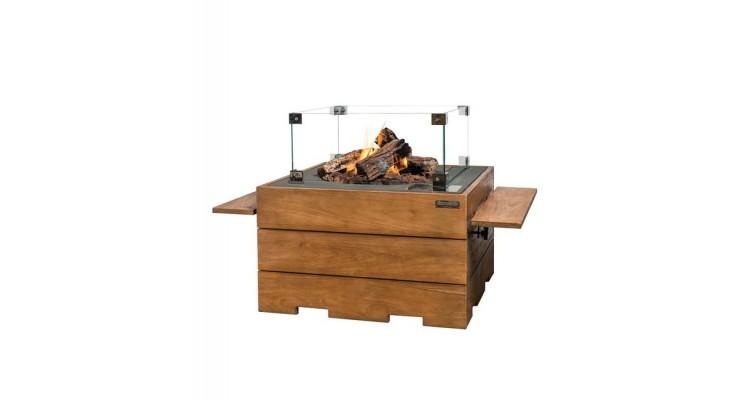 Masa cocon Lounge & Dining dreptunghiulara din lemn de tec, cu arzator gri imagine 2021 kivi.ro