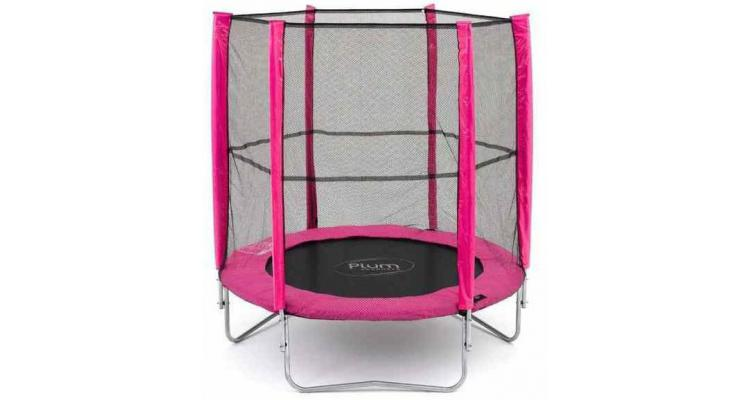 Set trambulina cu plasa de protectie Junior Pink 140 cm PLUM imagine 2021 kivi.ro