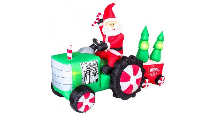 Figurina gonflabila Mos Craciun pe tractor 210 cm L x 150 cm H poza kivi.ro